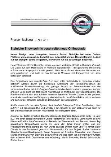 Pressemitteilung – 7. April 2011 Steinigke Showtechnic beschreitet ...