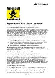 Mögliche Risiken durch Gentech-Lebensmittel - Greenpeace ...