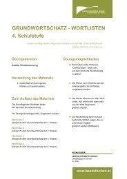 GRUNDWORTSCHATZ WORTLISTEN 4. Schulstufe - Lesekultur ...