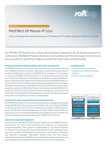 PROFIBUS DP Master-IP Core - Softing Industrial Automation