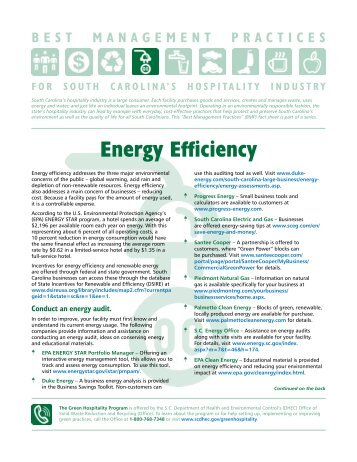 Energy Efficiency - Department of Health and Environmental Control