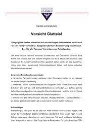 Presseaussendung: Vorsicht Glatteis! - KfV