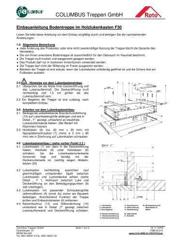 einbauanleitung mini bodentreppe roto. Black Bedroom Furniture Sets. Home Design Ideas