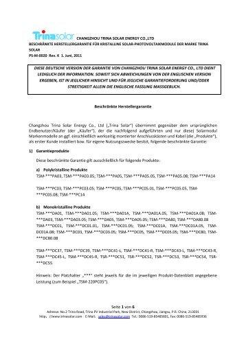 Seite 1 von 6 DIESE DEUTSCHE VERSION DER ... - bk solar