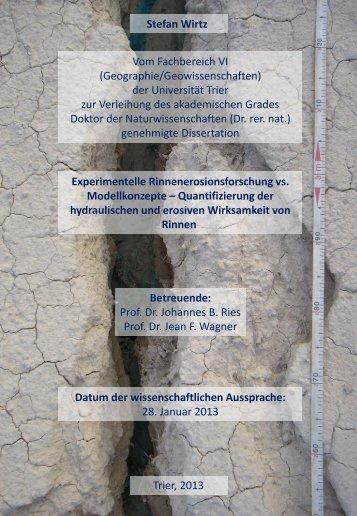 Stefan Wirtz Vom Fachbereich VI (Geographie/Geowissenschaften ...