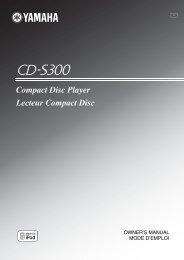 Compact Disc Player Lecteur Compact Disc - Yamaha
