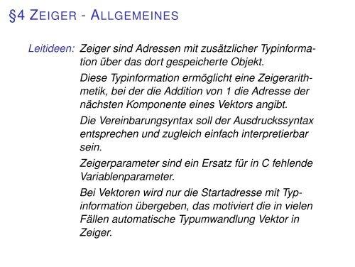 §4 ZEIGER - ALLGEMEINES