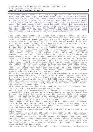 26.12 Johannes 8, 12-16 2. Weihnachtstag (PDF