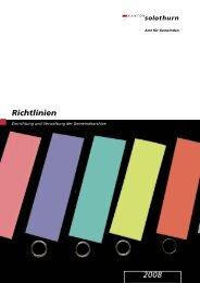 Einrichtung und Verwaltung der Gemeindearchive - Kanton Solothurn