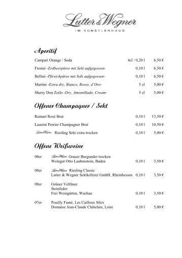 Aperitif Offener Champagner / Sekt Offene Weißweine