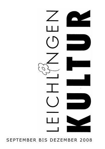 Kultur 2008 2. Halbj. Heft - Leichlingen