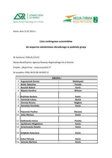 Lista rankingowa uczestników do wsparcia szkoleniowo ...
