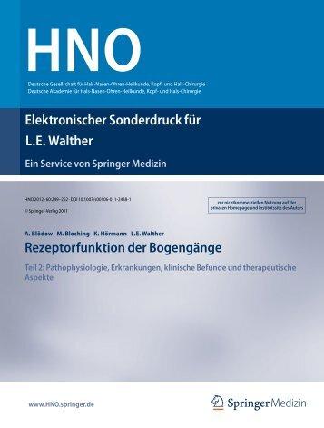 Rezeptorfunktion der Bogengänge Teil2 - HNO ...
