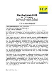 Haushaltsrede 2011 - FDP Selfkant