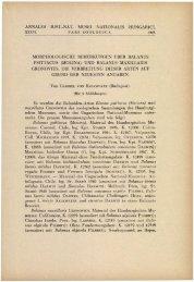 A Magyar Természettudományi Múzeum évkönyve 36. (Budapest ...