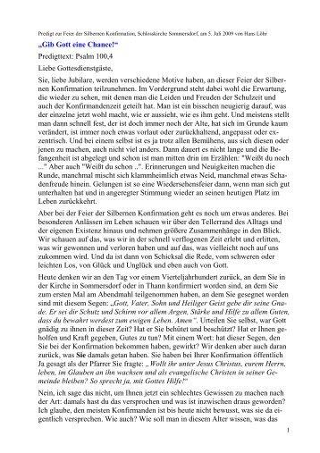 Predigt Zur Feier Der Silbernen Konfirmation, Schlosskirche ...