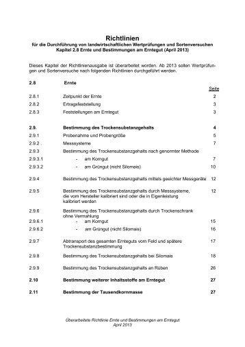 2.8 Ernte und Bestimmungen am Erntegut - Bundessortenamt
