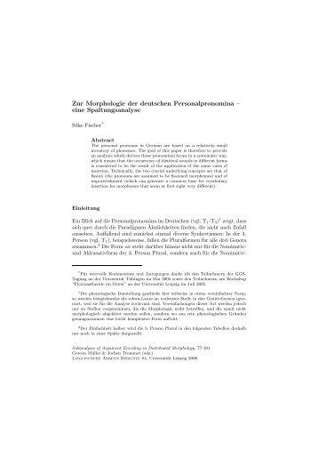Zur Morphologie der deutschen Personalpronomina - Universität ...