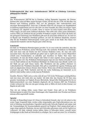 Erfahrungsbericht über mein Auslandssemester 2007/08 an ...