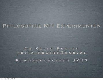 Philosophie Mit Experimenten - Kevin Reuter