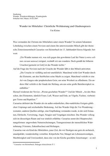 Wunder im Mittelalter: Christliche Weltdeutung und Glaubenspraxis