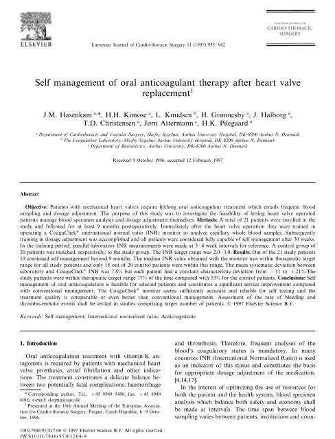 Self management of oral anticoagulant therapy after heart