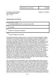 Stellungnahme zum Antrag 33/2006 Landeshauptstadt Stuttgart Der ...