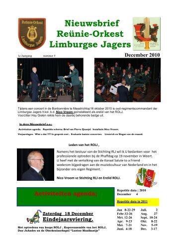 Nieuwsbrief Reünie-Orkest Limburgse Jagers - De Limburgse Jagers