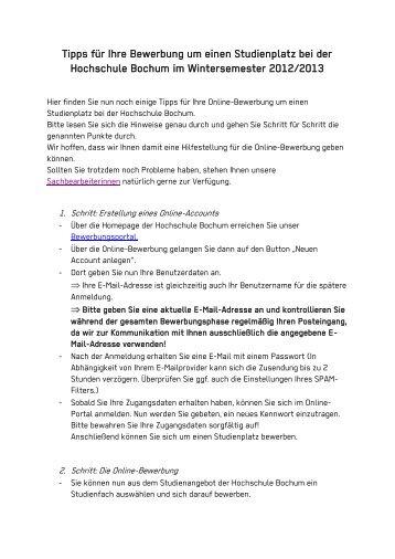 tipps fr ihre bewerbung um einen studienplatz bei der hochschule - Fh Bochum Bewerbung