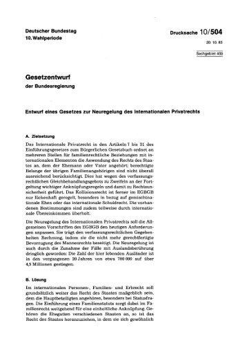 Entwurf eines Gesetzes zur Neuregelung des Internationalen ...