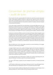 Convention de premier emploi - audit de suivi ... - Cour des comptes