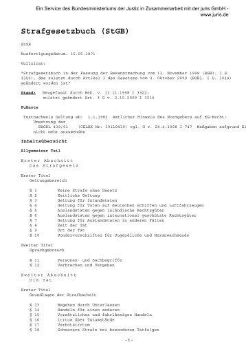Strafgesetzbuch (StGB) - Legislationline