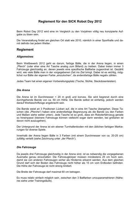 Reglement für den SICK Robot Day 2012 Reglement