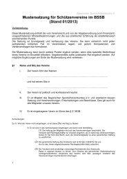 Mustersatzung für Vereine - BSSB
