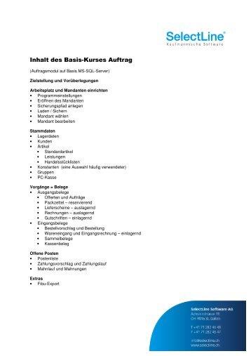 Inhalt Basis-Kurs Auftrag - SelectLine