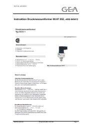 Instruktion Druckmessumformer 00.87.552, v002-040412 - GEA ...