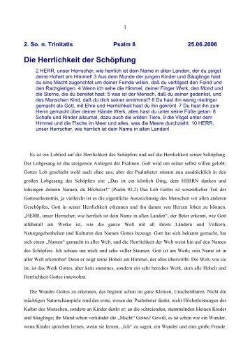 Die Herrlichkeit der Schöpfung - Vorträge von Reinhart Gruhn