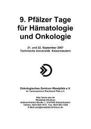 9. Pfälzer Tage für Hämatologie und Onkologie - OZW