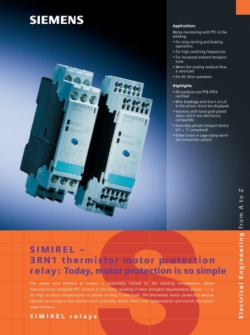 3RN1 thermistor motor protection relay - Siemens Industry, Inc.