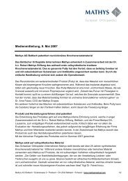 Medienmitteilung, 9. Mai 2007 - Mathys AG Bettlach