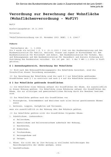Verordnung Zur Berechnung Der Wohnfläche .