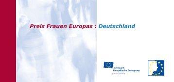 Preis Frauen Europas : Deutschland - Union of European Federalists
