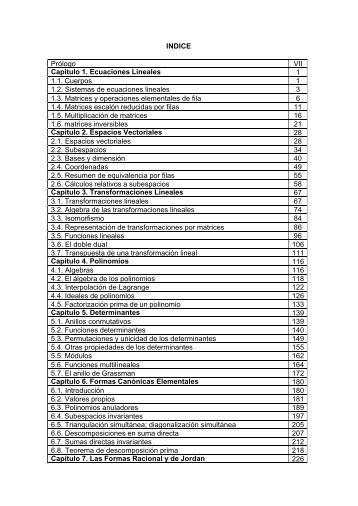INDICE Prólogo VII Capitulo 1. Ecuaciones Lineales 1 1.1 ... - URBE
