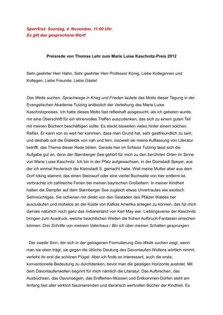 Preisrede Von Thomas Lehr Zum Marie Luise Kaschnitz Pr