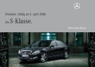 Preisliste Mercedes-Benz S-Klasse Limousine (WV221) vom 04.04.2008.