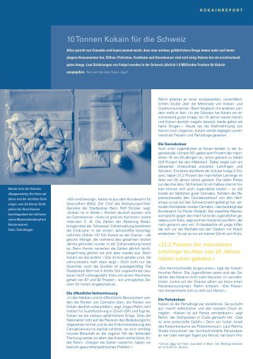10 Tonnen Kokain für die Schweiz - Sucht Schweiz