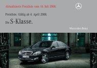 Preisliste Mercedes-Benz S-Klasse Limousine (W/V221) vom 14.07.2008.