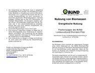 Nutzung von Biomassen - BUND Landesverband Rheinland-Pfalz