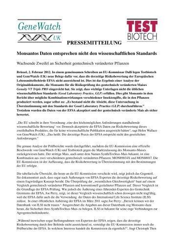 PRESSEMITTEILUNG - Testbiotech