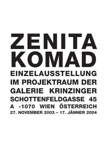 Zenita Komad - krinzinger projekte - Galerie Krinzinger